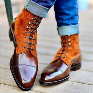 Handmade Brown Leather and Tan Suede Ankle Boots With Laceup Closure