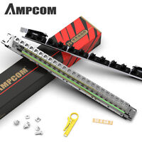 AMPCOM 24-Port CAT6A shielded 1U Patch Panel 19-Inch /Tool-less Keystone Jacks