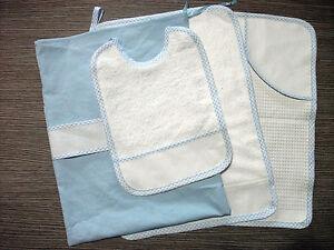 Set asilo 4 pezzi celeste da ricamare tovaglietta bavaglino asciugamano sacca