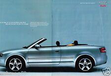Publicité advertising 2004 (2 pages) Audi A4 Cabriolet Quattro