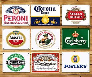 Metal bar signs plaques classic Beer pub mancave home wall shed Corona Peroni