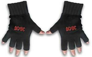 AC/DC Gloves Classic Red Band Logo Highway to Hell new Official Fingerless Black