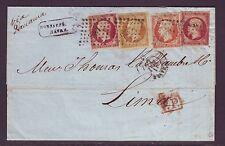 Empire n°17X2+13+16 sur lettre du Havre pour Lima via Panama, 1855, TB !!!