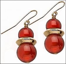 "Egyptian Style Carnelian Beaded Earrings & 24K Gold-Plate Roundels 0.4"" x 0.9"""