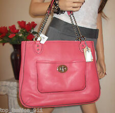 NWT COACH POPPY PINK CORAL PEBBLED LEATHER POCKET CHAIN SHOULDER BAG TOTE PURSE