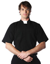 Short Sleeve Priest Mens Adult Religious Halloween Costume Shirt-Xxl