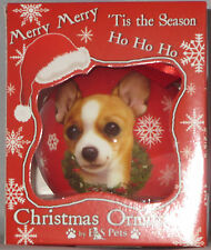 Tan Chihuahua Christmas Ornament Shatter Proof Ball Dog Snowflake Wreath Red