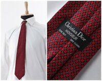 Mens CHRISTIAN DIOR Monsieur Silk Tie Cravatte Necktie Abstract Red