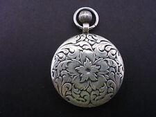 Silver Antique Repousse Watch Style Pendant