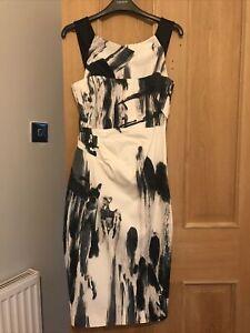 Ladies Black And White Abstract Print Karen Millan Occasion Midi Dress Size 10