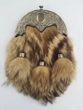 Men's Scottish Kilt Sporran Fox Fur Celtic Cantle Antique/Ful Dress Kilt Sporran