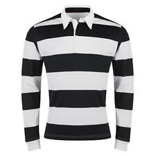 New Mens Rugby Shirt Striped Long Sleeve Casual Cotton Regular Fit Jumper Top