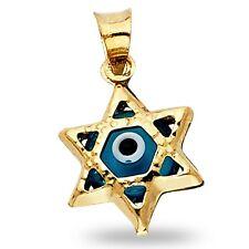 Evil Eye Star Of David Pendant Solid 14k Yellow Gold Good Luck Jewish Charm