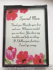 Special Mum Glass Hanging Sign Plaque Birthday Mothers Day Gift Boxed