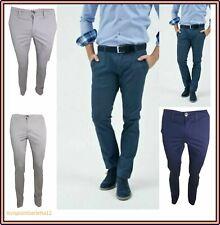 Pantaloni uomo slim fit guy chino elasticizzato vita bassa in cotone estivo