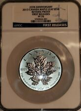 2013 5 OZ CANADA SILVER MAPLE LEAF S$50 25th ANNIVER, NGC PF70 REVERSE PROOF, FR