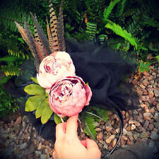 ROYAL ASCOT RACES Fascinator Hat Black Pheasant Feathers Pink Mauve Peony Flower