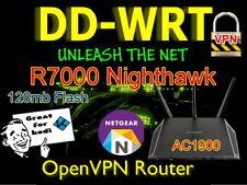Netgear R7000 AC1900 Nighthawk OpenVPN WIFI Cable VPN Router DDWRT. 128mb