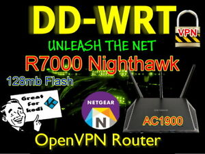 Netgear R7000 AC1900 Nighthawk OpenVPN VPN Router DDWRT. 128mb Free Setup