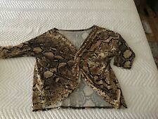 MAKE OFFER TWISTED FRONT SNAKESKIN BLOUSE M-L GREAT W BOOTS AND JEANS