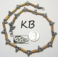 Signed KB Pewter Spike & Bamboo Tube Necklace, Black Leather Cord, Goth/Punk 18""