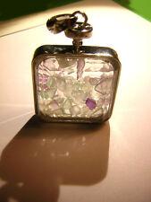Medaillon quadratisch 3,5 cm gefüllt mit Fluorit facettiertes Glas PHIOLE