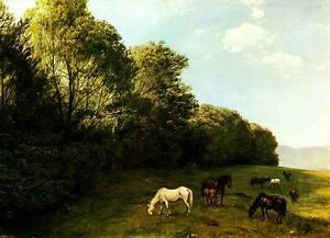 Landschaft mit weidenden Pferden Hans Thoma Natur Wiese Fohlen Wald H A3 0099