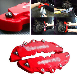 2PCS Red Fit For Car Wheel Brake Caliper Cover Front Rear Dust Resist Protection