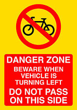 Cyclist Beware Sticker Danger Zone Do Not Pass On This Side Buy 1 Get 1 Free
