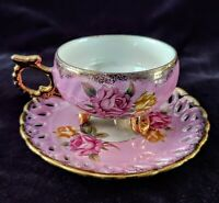Vintage ROYAL HALSEY Very Fine China TEACUP & SAUCER Lusterware Roses Footed Cup