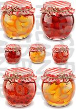 7 ADESIVI vasetti FRUTTA FRUIT JAR FRAGOLE STICKERS IMPERMEAB PIASTRELLE CUCINA