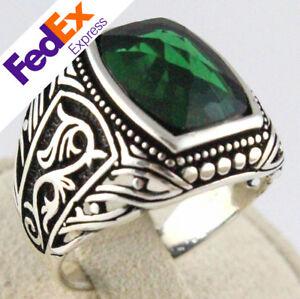 925 Sterling Silver Turkish Handmade Emerald Ottoman Men's Luxury Ring All Sizes