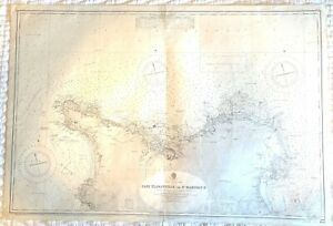 1948 Vintage Maritime Chart Normandy coastal Cherbourg, France Admiralty map