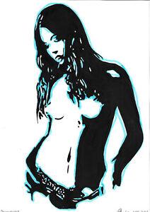 original drawing A4 346PV art by samovar modern marker female nude Signed 2021
