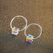 Damen Ohrstecker Kreis Kristall Würfel echt Sterling Silber 925 Ohrringe Bunt