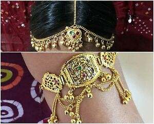 Gold chain Matha Patti head piece Belly Dance costume Maang Tikka armlet jewelry
