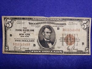 1929 $5 Dollar National Currency The Federal Reserve of New York, NY - GOOD