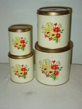 Vintage Decoware 4pc Tin Nesting Canister Set Daisies Yellow Red Copper Lids