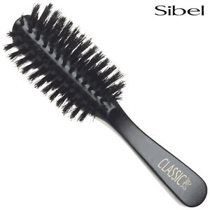 Sibel Classic 58 Half Round Wooden Hair Brush 100% Boar Bristle Natural Wood