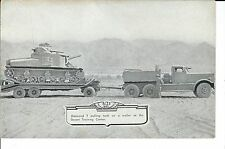 ME-028 - Diamond T PUlling Tank on Trailer, Lithograph WWII Era Army USA Vintage