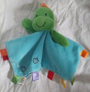 Taggies Dinosaur Lovey Security Blanket Green Blue Footprints Dino Baby Plush