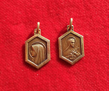 Ste THERESE ET VIERGE MARIE  :  2 MEDAILLES EN PLAQUE OR     !