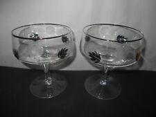 2 Vintage Silver Trimmed Etched Rose Silver Leaf Sherbet Champagne Glasses
