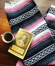 Vintage 80s Handwoven Molina Tribal Print Handmade Throw Blanket Striped Fringe