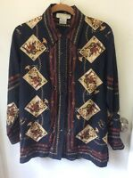 Silk Club Collection Sz M 100% Silk Blue Long Sleeve Hunt Scene Career Blouse