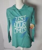 Reebok Long Sleeve Teal Hooded Active Top Lightweight Slim Fit Women Size Small