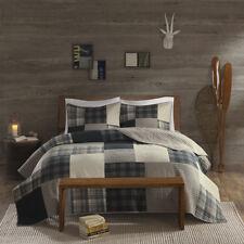 Cozy Classic Tan Beige Blue Grey Plaid Stripe Rustic Cabin Lodge Quilt Set New