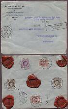 INSURED POST 500Fr..BELGIUM 1923 COVER...5 SEALS