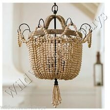 Petite Natural Wood Beads Chandelier Beaded Pendant California Style Tunis New