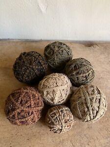 7 Handmade Old Antique BEST Brown & Green Rag Rug Balls Textile AAFA